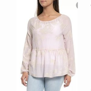 Dylan Embroidered Tie Blouse Size S Pink
